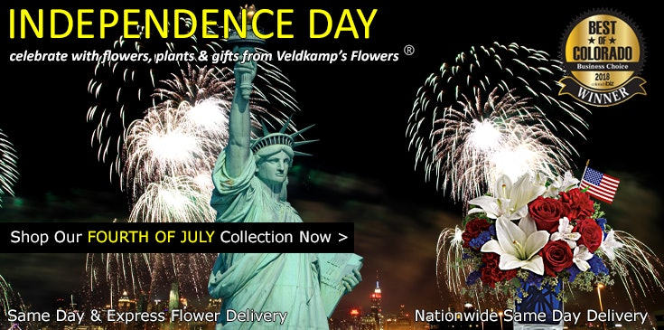 Veldkamp's Flowers offers the best selection of patriotic themed, 4th of July flowers and gifts in Denver.