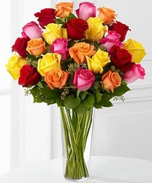 Premium Long Stem Roses - Multicolored'