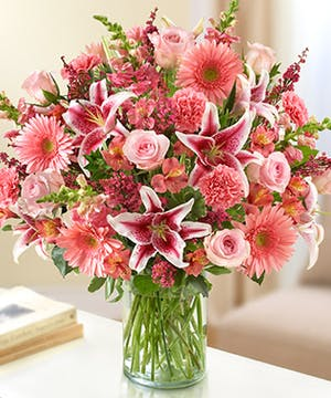Pink Mixed Flower Sympathy Arrangement in a Cylinder Vase