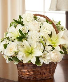 White Mixed Flower Sympathy Arrangement in a Wicker Basket