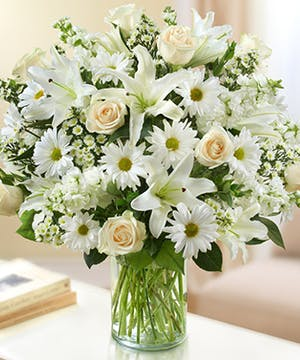 White Mixed Flowers in a Cylinder Vase