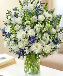 Blue & White Mixed Flower Sympathy Arrangement in a Cylinder Vase