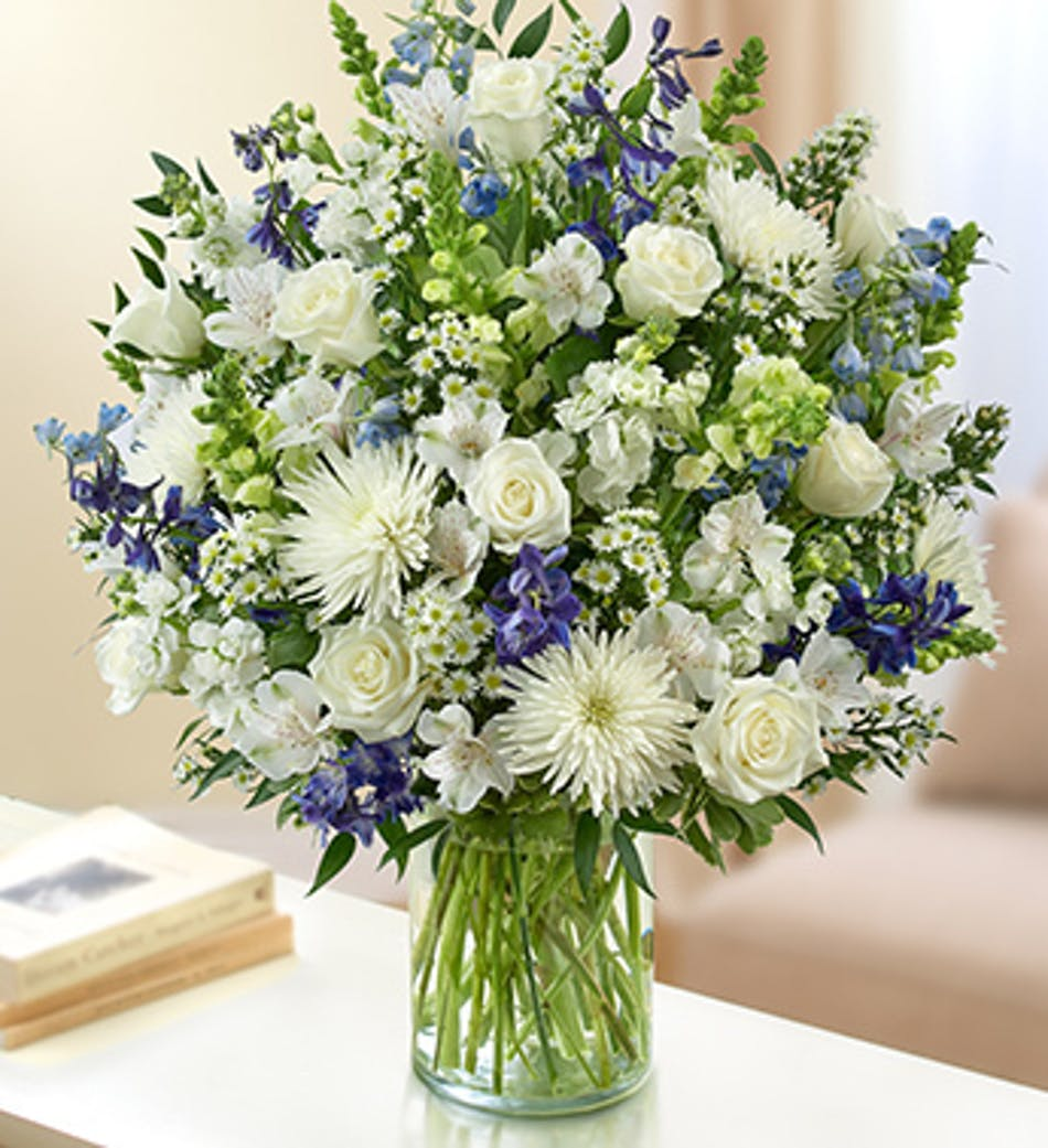 Sincerest sorrow blue and white by 1 800 flowers blue white available for nationwide delivery izmirmasajfo