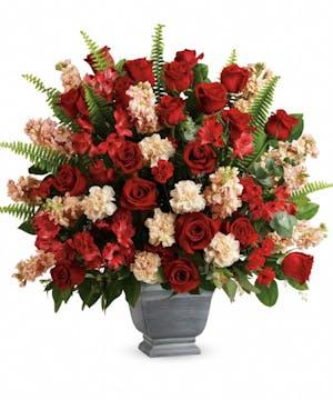 Red & Peach Sympathy Bouquet