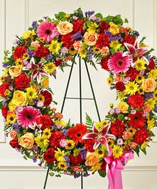 Bright Multicolor Mixed Flower Standing Sympathy Wreath