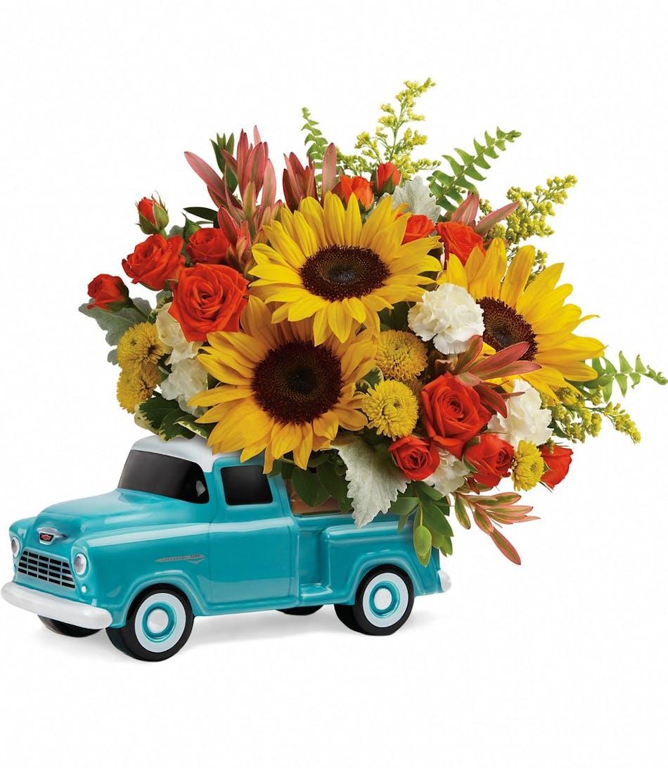 Chevy Pick Up Bouquet Sumflower Bouquet Veldkamps Flowers