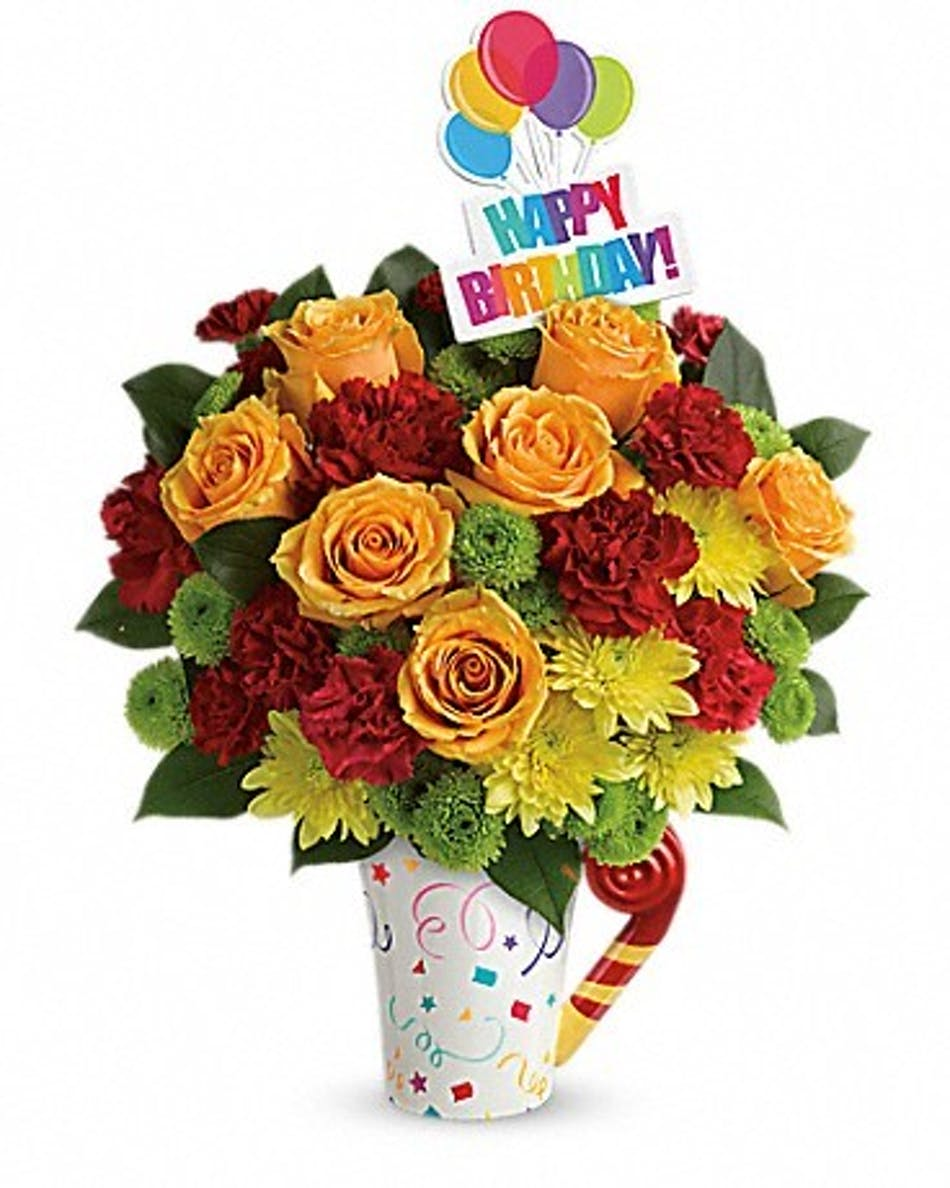 Fun n festive bouquet birthday flowers florist denver co birthday flowers denver co flower shop available for nationwide delivery izmirmasajfo