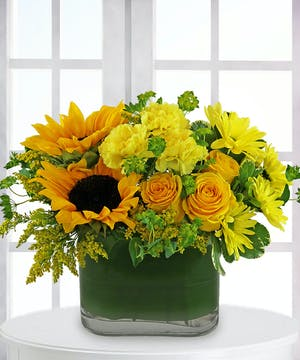Sunflowers, Orange Roses, Yellow Daisies