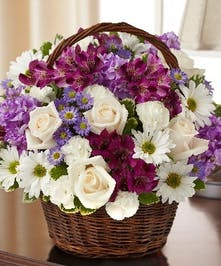 Lavender & White Mixed Flower Sympathy Arrangement in a Wicker Basket