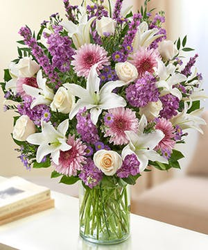 Lavender & White Mixed Flower Sympathy Arrangement in a Cylinder Vase