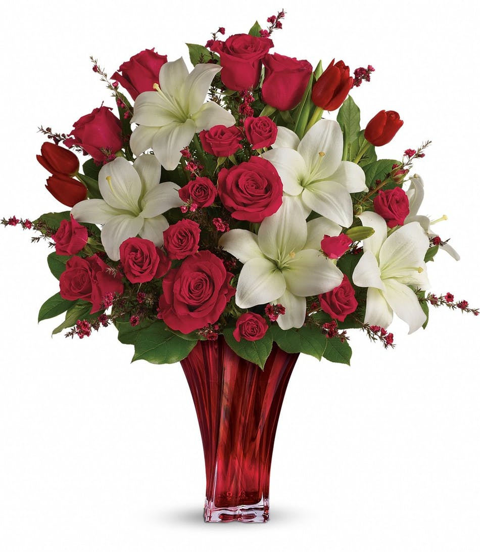 Loves Passion Bouquet Rose Lily Tulip Bouquet Veldkamps