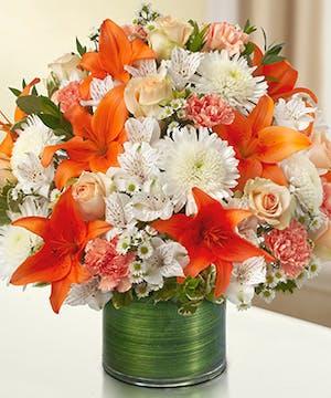 Peach, Orange & White Sympathy Bouquet