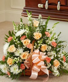 Peach, Orange & White Mixed Flower Fireside Basket