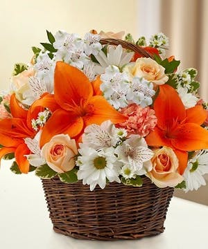 Peach, Orange & White Sympathy Arrangement in a Wicker Basket