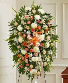 Peach, Orange & White Mixed Floral Standing Spray