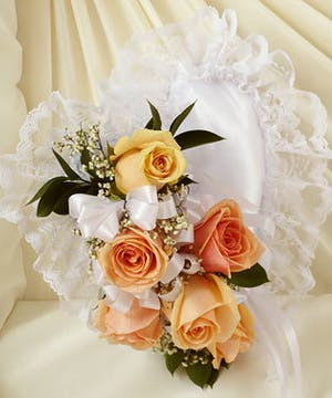 Satin Heart Casket Pillow Accented with Peach Roses