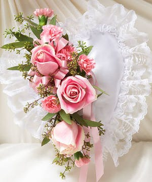White Satin Heart Accented with Pink Roses