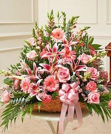 Pink Mixed Flower Fireside Basket