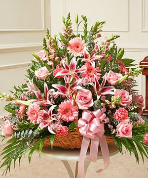 Pink Mixed Flower Fireside Basket