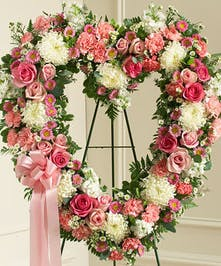 Pink & White Mixed Flower Standing Open Heart