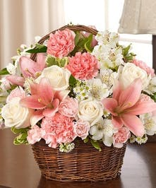 Pink & White Mixed Flower Sympathy Arrangement in a Wicker Basket