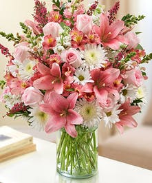 Pink & White Mixed Flower Sympathy Arrangement in a Cylinder Vase