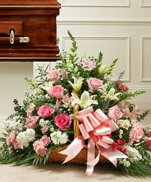 Pink Roses and White Mixed Flowers in a Fireside Basket