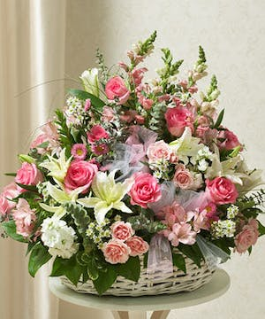 Pink and White Mixed Flowers in a Basket