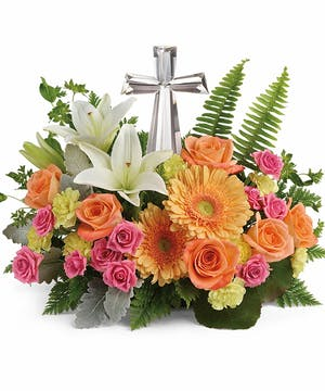 Orange and Pink Sympathy Arrangement