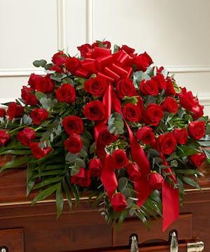 Red Rose Half Casket Spray