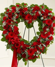 All Red Mixed Floral Standing Heart Tribute