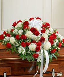 Red & White Mixed Floral Casket Spray