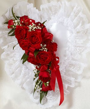 White Satin Heart Accented with Red Roses