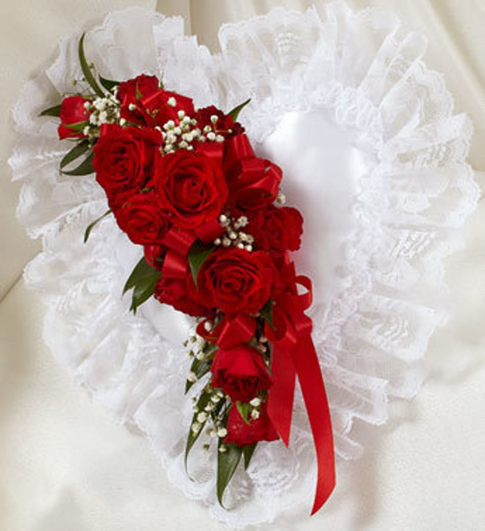 Red Satin Heart Casket Pillow By 1 800 Flowers White