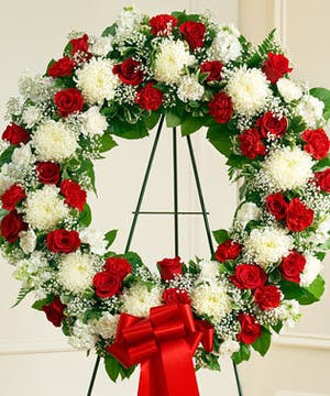 Red & White Mixed Flower Standing Sympathy Wreath
