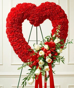 Red Carnation Standing Open Heart Accented with White Roses