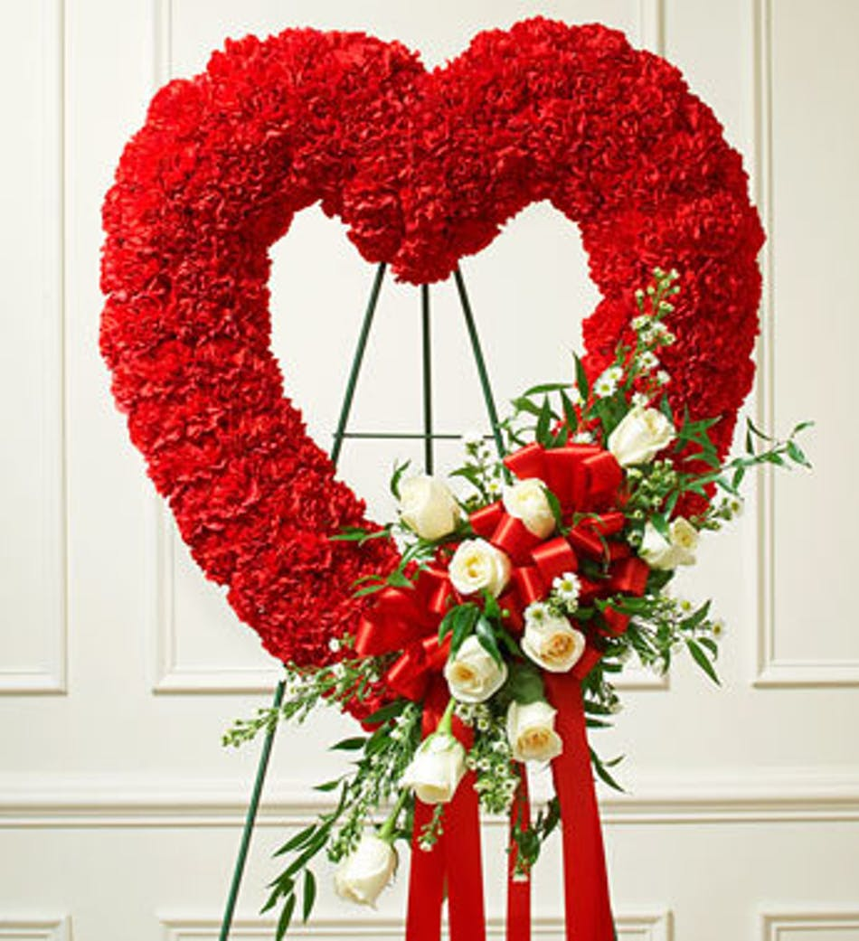 Red Open Heart With White Roses By 1 800 Flowers Red Carnation