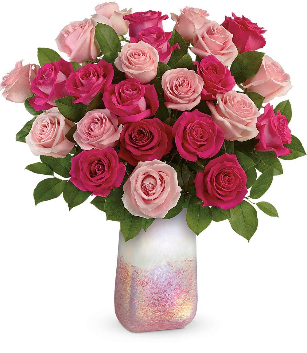 Rose Quartz Kisses Bouquet Modern Pink Rose Bouquet Veldkamp S Flowers Denver Florist Fresh Cut Flowers Nationwide Same Day Flower Delivery