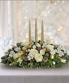 White & Gold Christmas Centerpiece