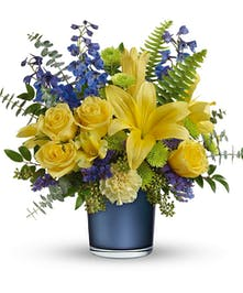 Sophisticated Blue & Yellow Bouquet