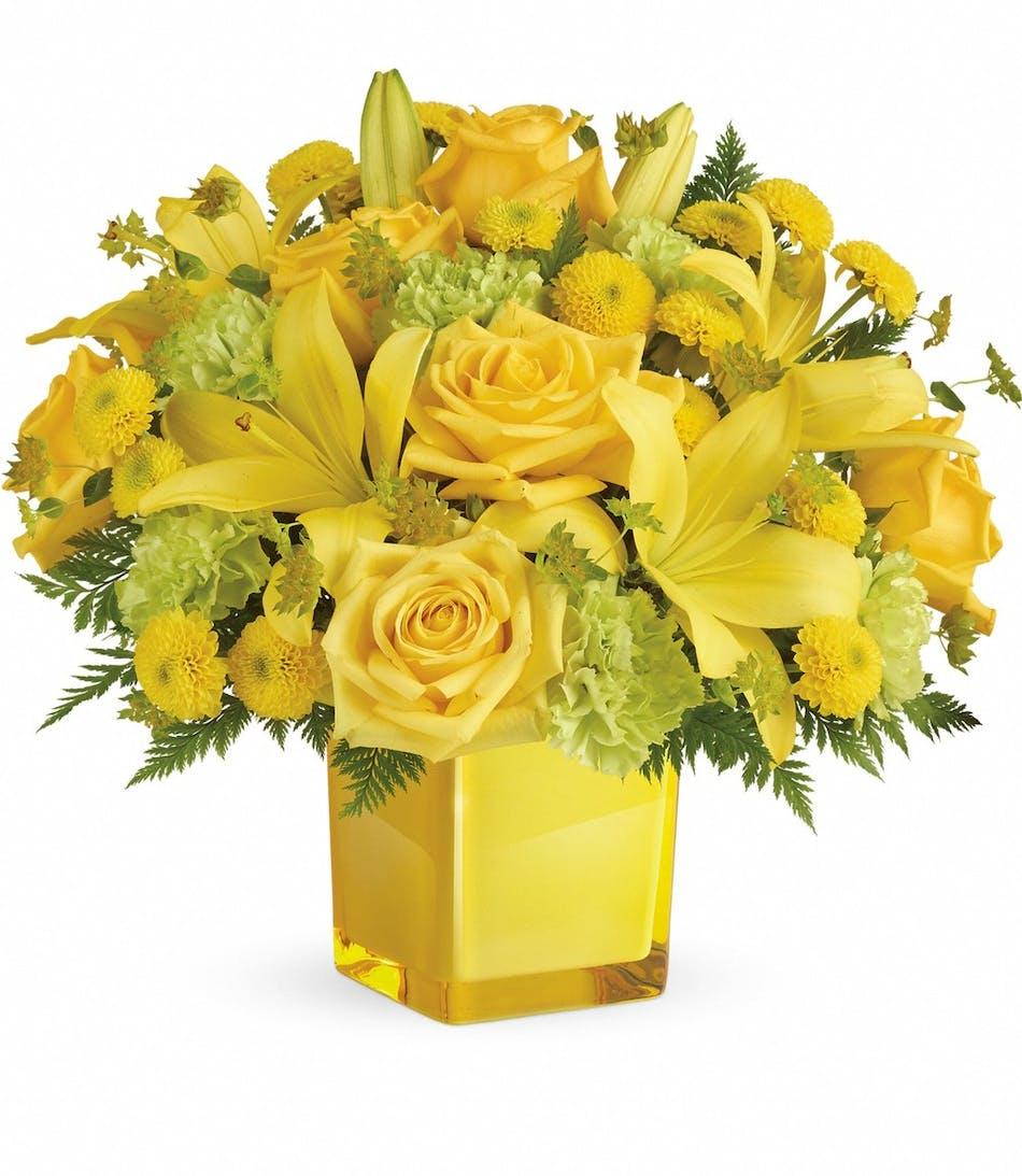 Sunny Mood Bouquet Yellow Roses Denver Veldkamps Flowers