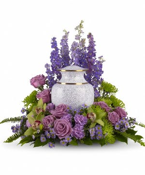 Lavender and Green Cremation Arrangement