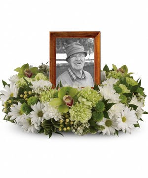 Green and White Cremation Wreath