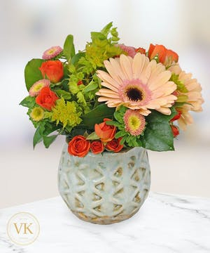 Peach Rose & Gerbera Daisy Bouquet