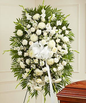 All White Mixed Flower Standing Spray