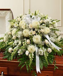 White Mixed Floral Casket Spray