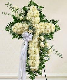 White Flower Cross with White Rose Break
