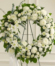White Mixed Flower Standing Sympathy Wreath