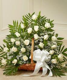 White Roses in a Fireside Basket