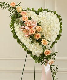 Solid White Standing Heart Accented with Peach Roses